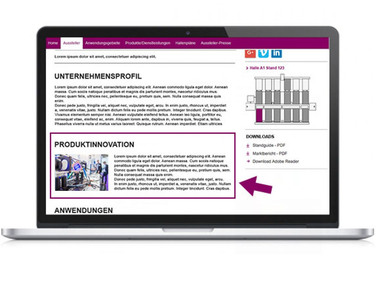 Ihre Produktinnovation im Online-Katalog