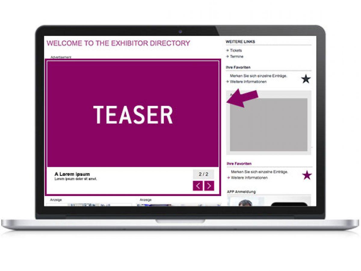 Premieren-Teaser auf der Startseite des Online-Katalogs