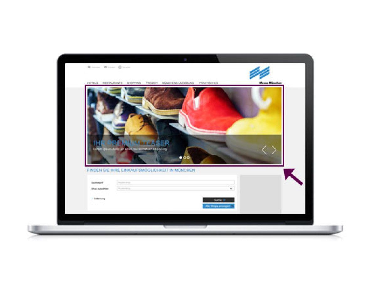 """Premium-Teaser auf der Startseite der Rubrik """"Shopping & Freizeit"""""""