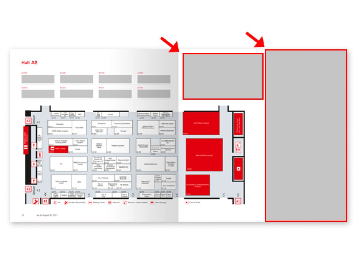 Ad next to the hall plan (EXPO REAL Guide)