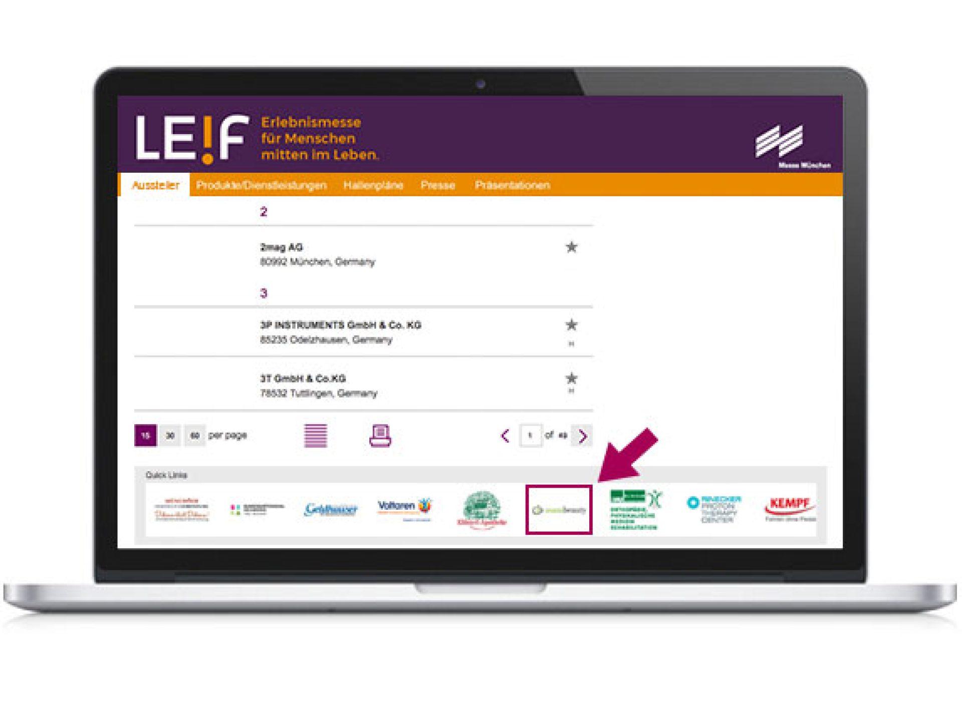 Logo-Banner im Online-Katalog