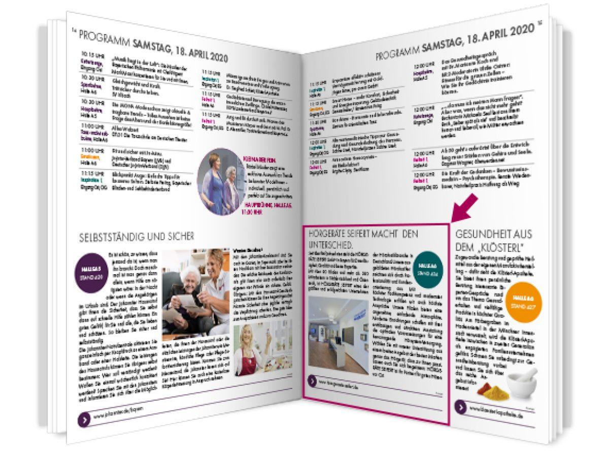 1/3 Seite Redaktioneller Beitrag im Messemagazin inkl. Online-Präsentation