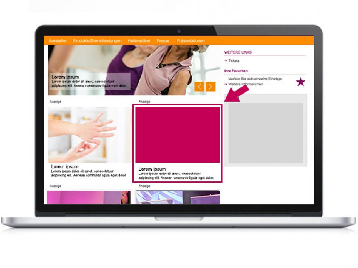 Standard-Teaser auf der Startseite des Online-Katalogs