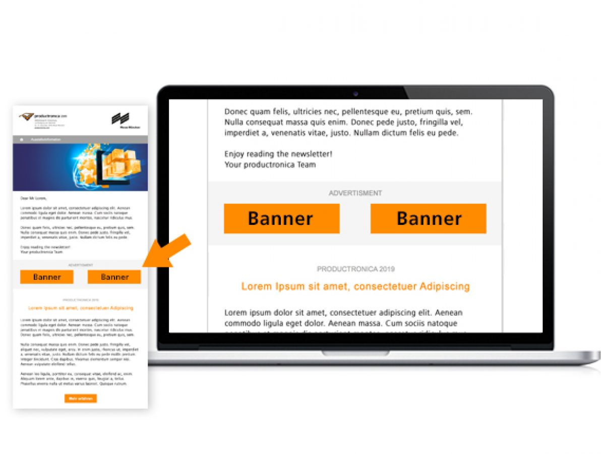 Half banner in one visitor e-mailing