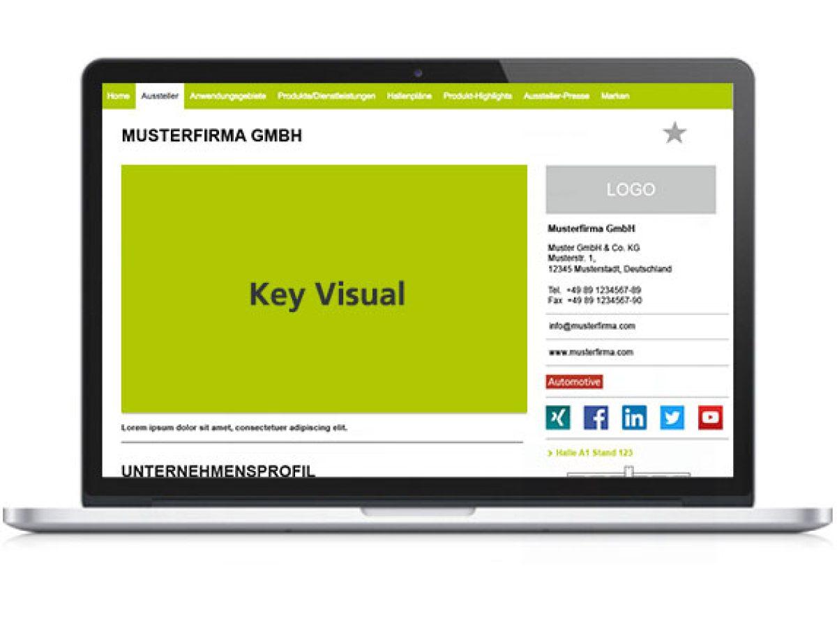 Key Visual im Ausstellerprofil