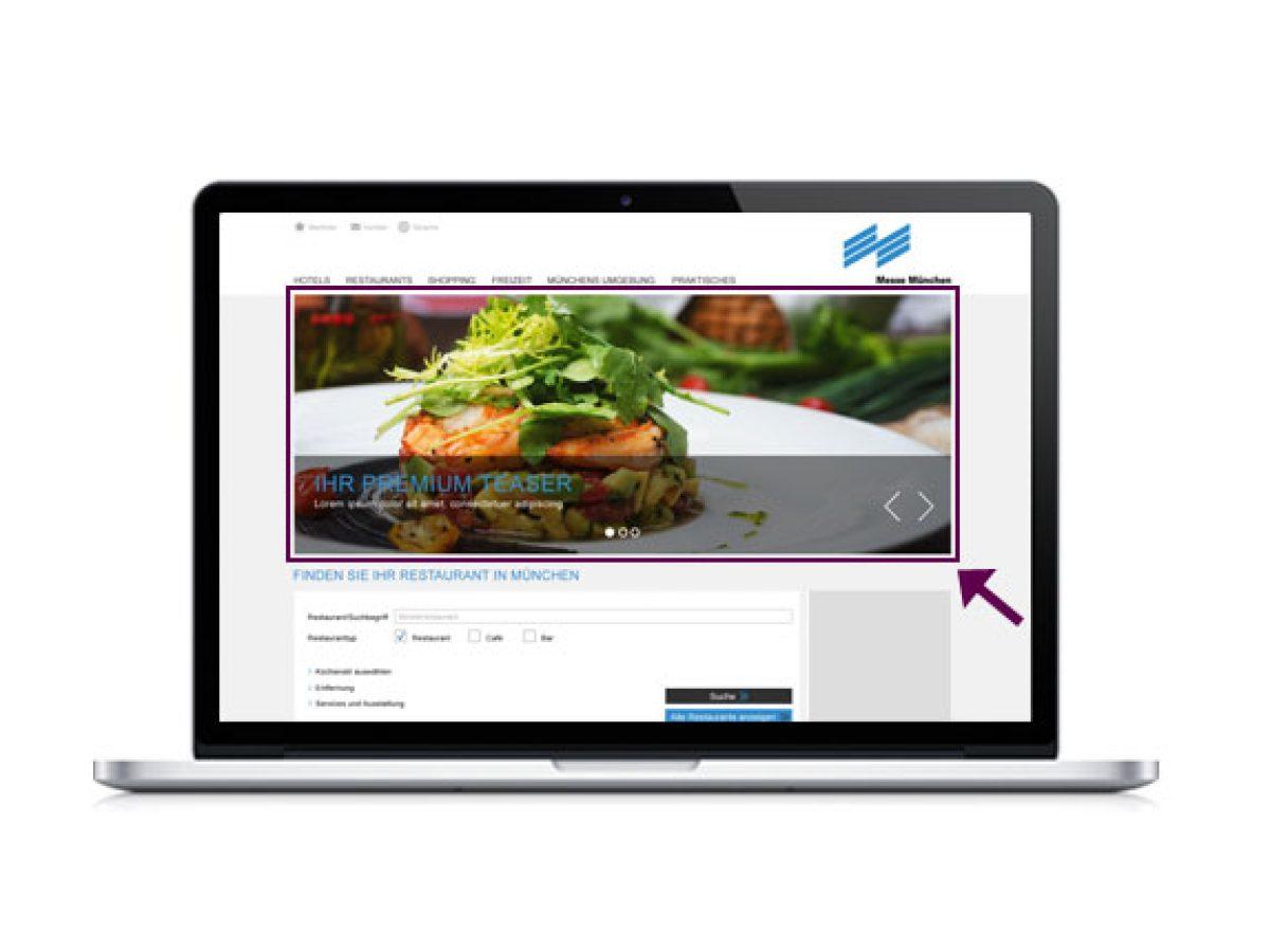 """Premium-Teaser auf der Startseite der Rubrik """"Restaurants"""""""