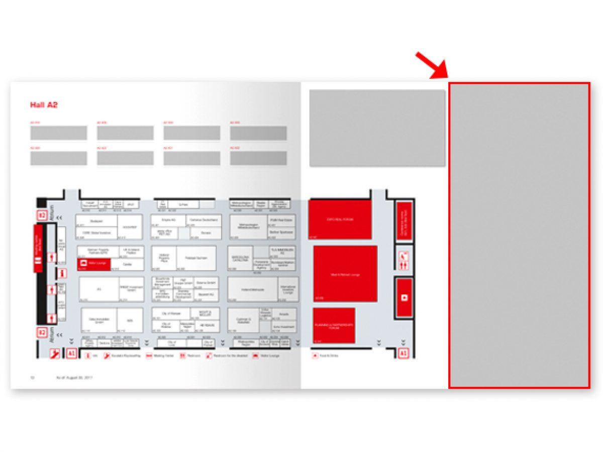 Anzeige neben dem Hallenplan (EXPO REAL Guide)