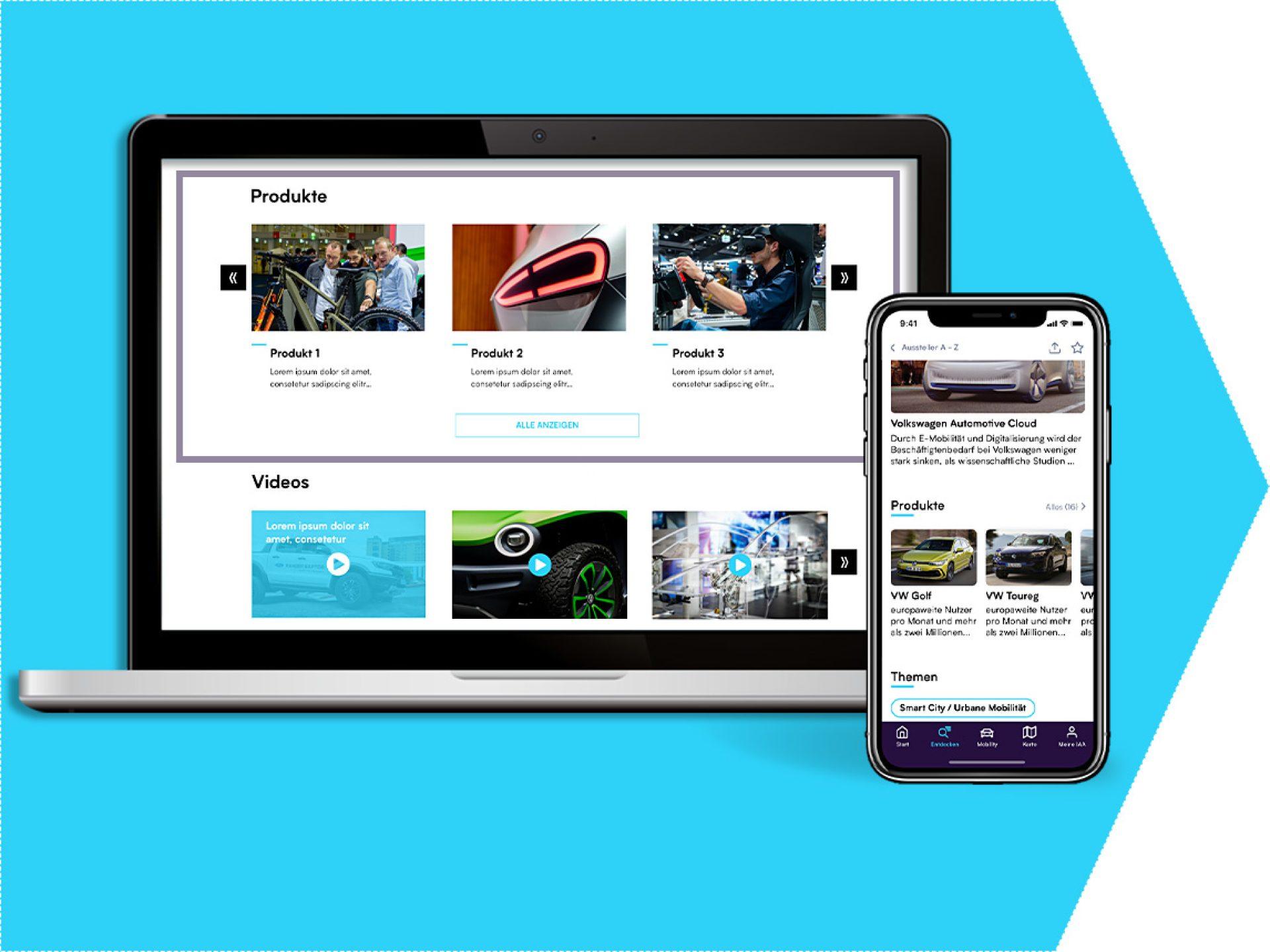 Product presentation on the exhibitor profile (IAA App)
