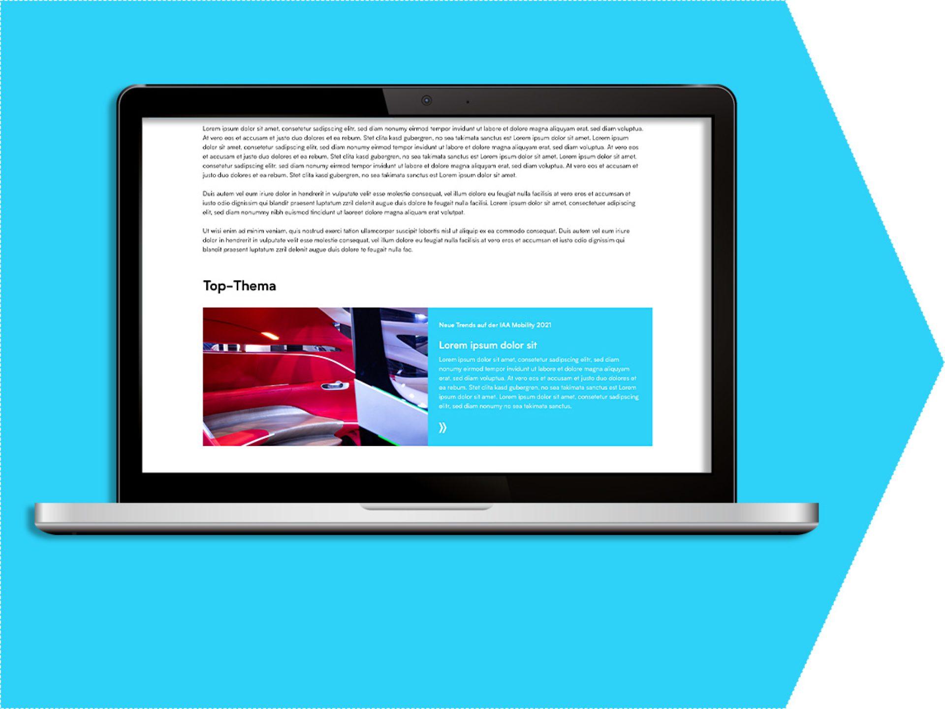 Main topic on the exhibitor profile  (exhibitor portal)