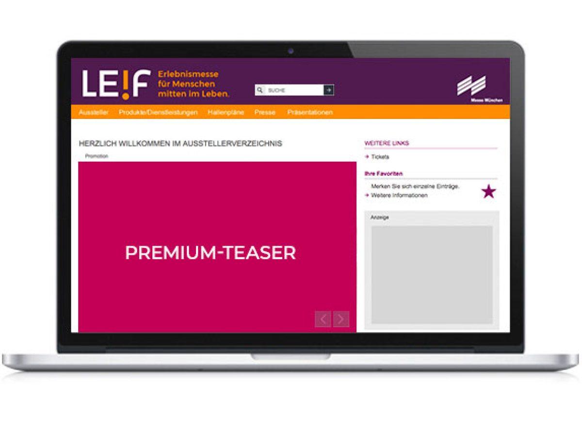 Premium-Teaser auf der Startseite des Online-Katalogs