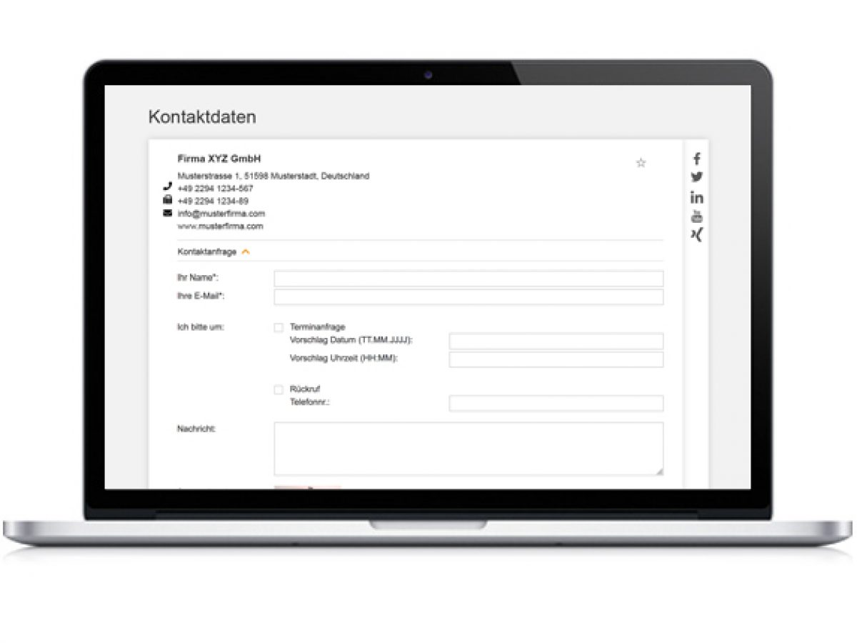 Adressdaten, Social Media Links & Kontaktformular