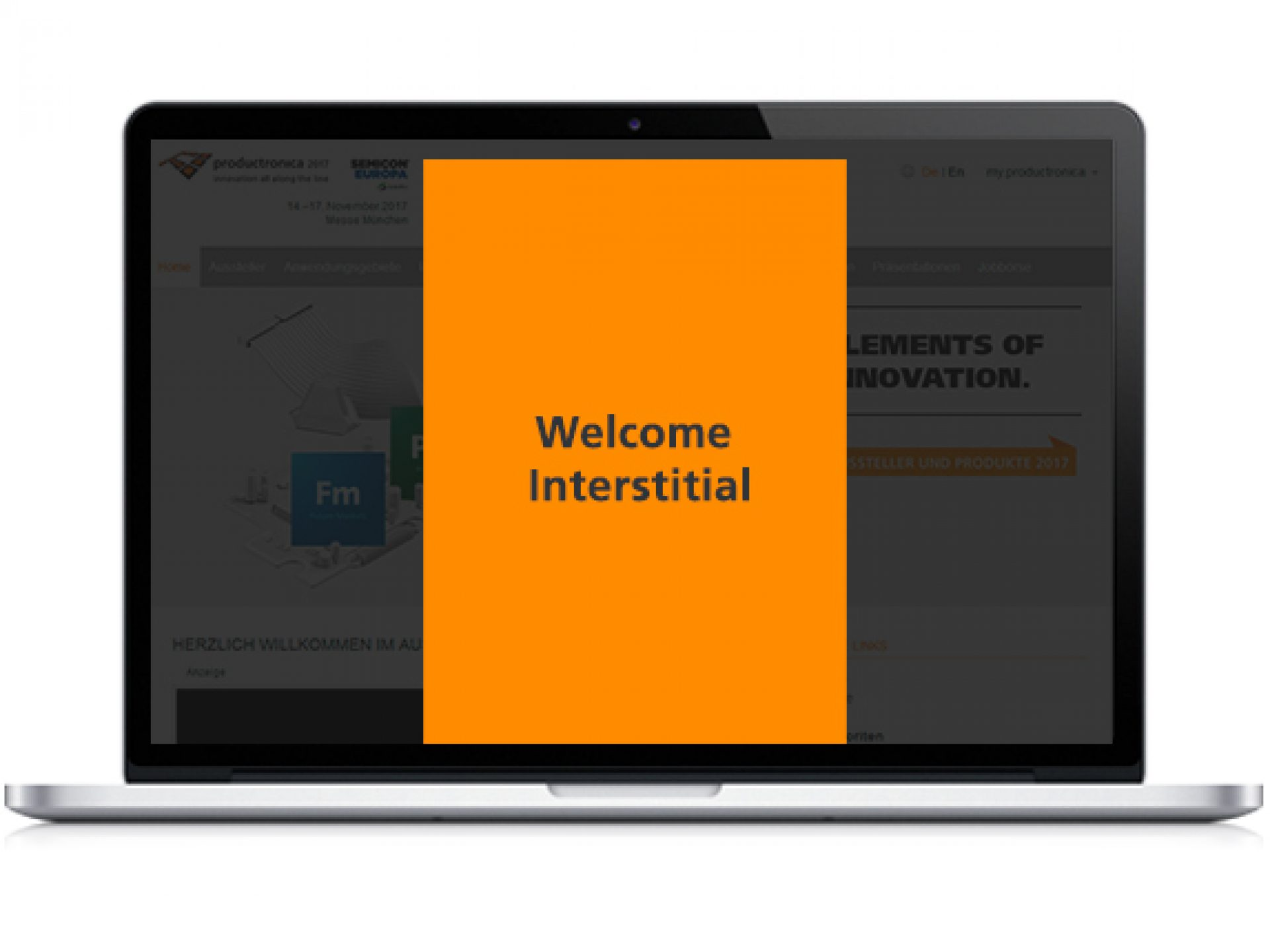 Welcome Interstitial auf der Startseite