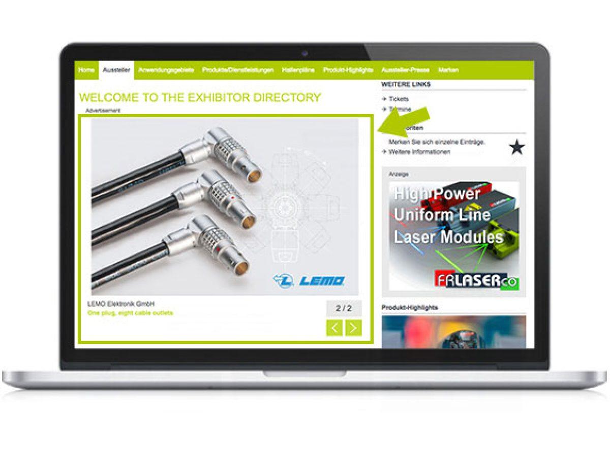 Großes Key Visual auf der Startseite des Online-Katalogs