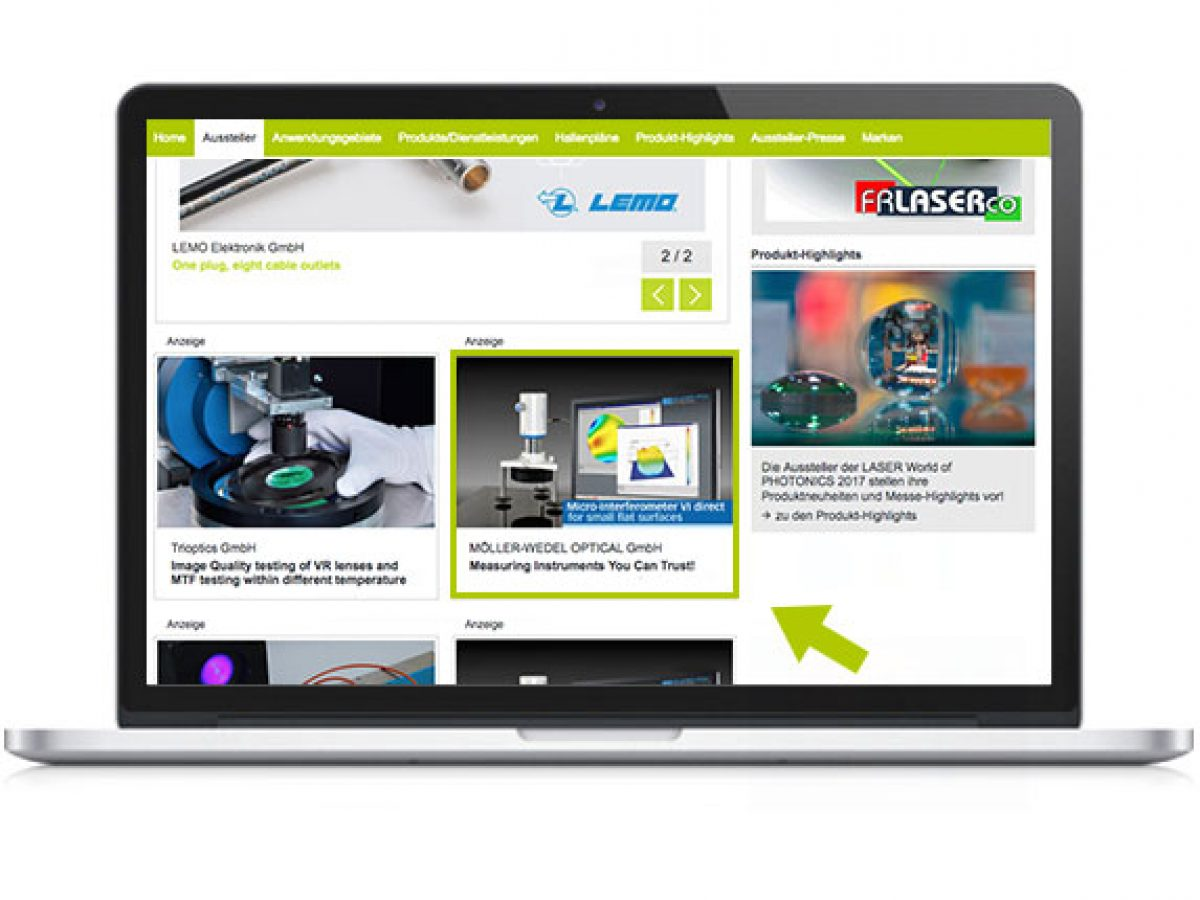 Key Visual auf der Startseite des Online-Katalogs