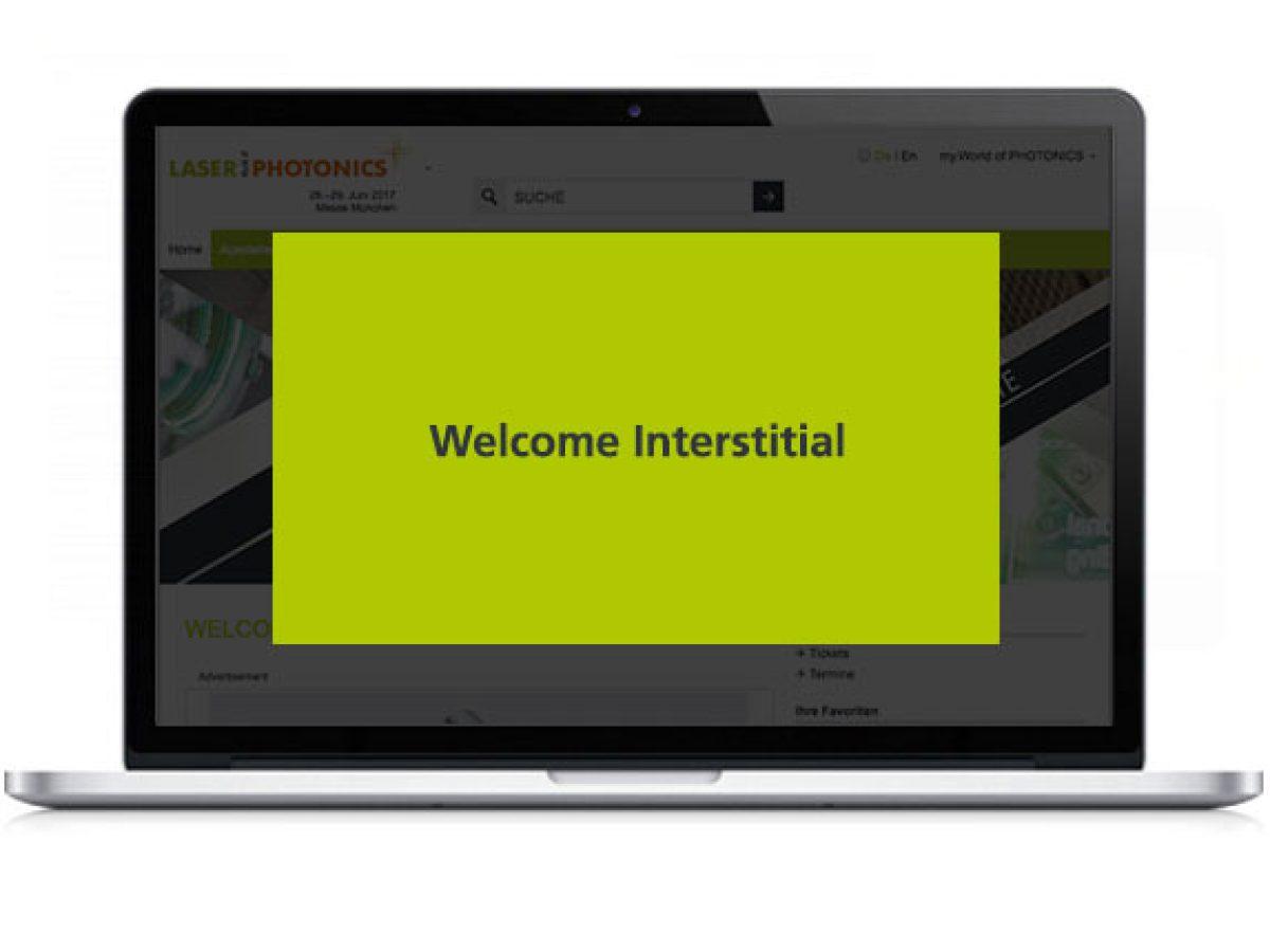 Welcome Interstitial im Online-Katalog